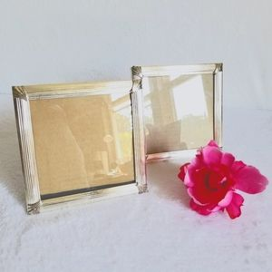 Two square silver plated picture frames